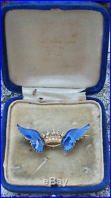 Antique 14k Yellow Gold Diamond Pearl Enamel Brooch Watch Pin A. J Hedges