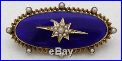 Antique 14k Yellow Gold, Seed Pearl, & Royal Blue Enamel Mourning Pin/Brooch