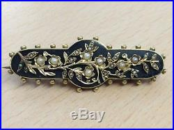 Antique 15ct Gold & Seed Pearl Locket Backed Mourning Brooch Pin 1891