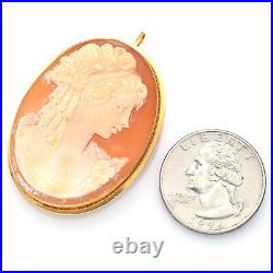 Antique 18K Yellow Gold Cameo Shell Large Oval Brooch Pin Pendant 9.0 Grams