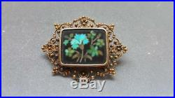 Antique 18K yellow gold beaded filagree turquoise flower micro mosaic brooch pin