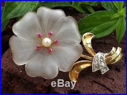Antique 18k Gold Carved Rock Crystal Ruby Pearl Diamond Flower Brooch Pin