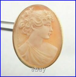 Antique 18k Solid Gold 750 Carved Cameo Brooch Pin Necklace Pendant 4.8g