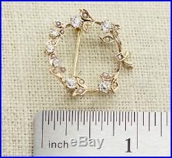 Antique 18k Yellow Gold 0.85ct Old Mine Cut Diamond & Pearl Circle Pin Brooch