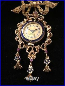 Antique 18k Yellow Gold Italian Ruby Blue Enamel Lapel Watch Brooch/Pin