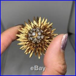 Antique 18k yellow gold old European cut VS diamond burst brooch pin 3D 27.2g