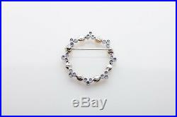 Antique 1920s 2ct Natural Blue Sapphire Pearl 18k White Gold CIRCLE Brooch Pin