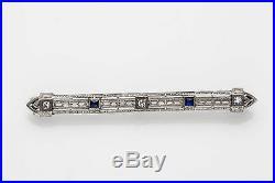 Antique 1920s. 33ct Blue Sapphire Diamond 14k Gold Platinum Filigree Brooch Pin