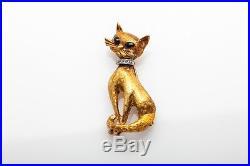 Antique 1930s DECO KITTY CAT 18k Gold Platinum ONYX Diamond Brooch Pin 14g