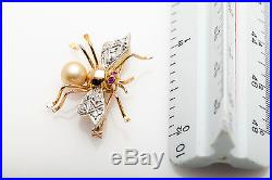 Antique 1940s RETRO 14k Gold Ruby Diamond Pearl BUG FLY BEE Pin Brooch RARE