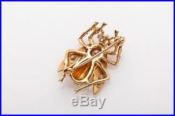 Antique 1950s FLY BEE 14k Gold. 75ct VS H Diamond Ruby Pin Brooch