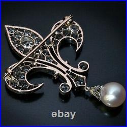 Antique 2TCW Diamond Pearl & Ruby Fleur-De-Lis Brooch Pin in 14k White Gold Over