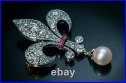 Antique 2.19ct Pearl, Ruby & Diamond Fleur-De-Lis 18K White Gold Over Brooch Pin