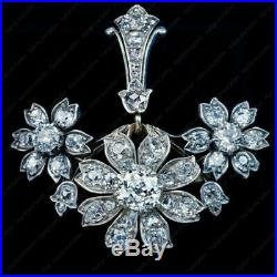Antique 4.0 Ct Diamond Floral Brooch Pin 1890s in 14k White Gold Over For Unisex