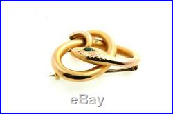 Antique 8K Solid Gold Snake Brooch Pin EXCELLENT & ORIGINAL