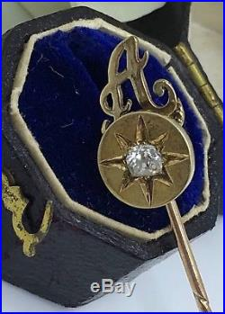 Antique A Initial Large Diamond Stick Pin Brooch Yellow Gold. 20 Points