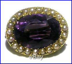 Antique Amethyst & Seed Pearl Brooch Pin 15ct Yellow Gold c1880/1910 Beautiful