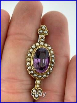 Antique Amethyst and Seed Pearl Halo Bar Brooch Pin, 14k Yellow Gold, Victorian