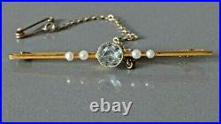 Antique Aquamarine and Seed Pearl Brooch / Pin in 15ct Gold