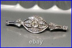 Antique Art Deco 14K white Gold 3/4 CTW Old Mine Diamond Pin Brooch