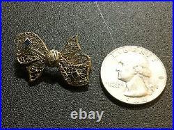 Antique Art Deco 14k White Gold Filigree Bow Pin Brooch w Blue Stones & Diamond