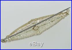 Antique Art Deco 14k White Gold Filigree Diamond Estate Brooch Pin