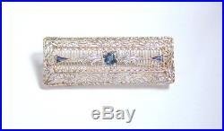 Antique Art Deco 14k White Gold & Sapphire Filigree Nouveau Bar Pin Brooch
