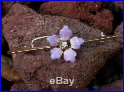 Antique Art Deco 14k Yellow Gold Diamond Enamel Flower Brooch Bar Pin Estate