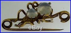 Antique Art NouveauSpider Lapel Brooch PinSolid 14K Gold+MoonstonesCirca 1910