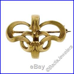 Antique Art Nouveau 10K Solid Gold Petite Open Textured Tulip Brooch Pin Pendant