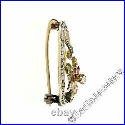 Antique Art Nouveau 14K Gold. 05ct Diamond Seed Pearl Enamel Crescent Brooch Pin