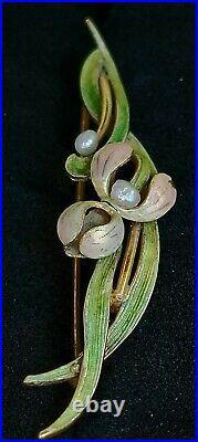 Antique Art Nouveau 14K Gold Enamel Pearl Flower Pin Brooch- Estate Jewelry 2.8g