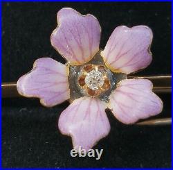 Antique Art Nouveau 14k Gold Diamond Enamel Flower Brooch Pin- Estate Jewelry