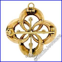 Antique Art Nouveau 14k Gold Diamond Floral Enamel Love Knot Pin Brooch Pendant