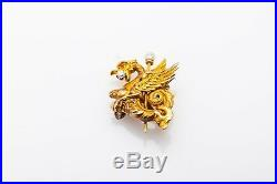 Antique Art Nouveau 14k Gold Diamond Natural Pearl GRIFFIN DRAGON Brooch Pin