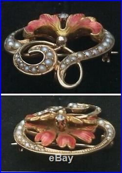 Antique Art Nouveau 14k Gold Diamond Pearl Enamel Flower Brooch Watch Pin