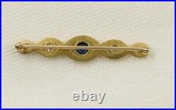 Antique Art Nouveau 14k Gold Diamond Sapphire Brooch Pin