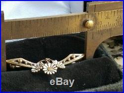 Antique Art Nouveau 14k Gold Enamel Daisy Flower Brooch Pin- Krementz