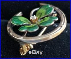 Antique Art Nouveau 14k Gold Horseshoe Clover Enamel Diamond Brooch/ Enamel Pin