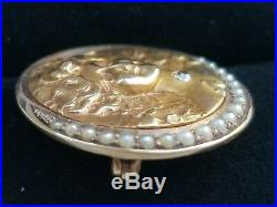 Antique Art Nouveau 14k Gold Pearl Diamond Crescent Moon Lady Brooch Pin Pendant
