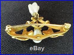 Antique Art Nouveau 14k Gold Pearl Enamel Flower Brooch Pin-Art Nouveau Jewelry