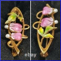 Antique Art Nouveau 14k Gold Pearl Enamel Flower Brooch Pin-Krementz Estate 1.8g