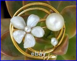 Antique Art Nouveau 14k Gold Pearl Flower Brooch Pin Bippart Griscom & Osborn