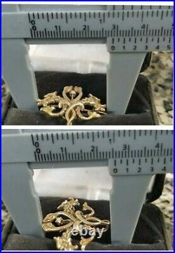 Antique Art Nouveau 14k Gold Pearl Griffin Snake Watch Pin Brooch Estate 3.2g