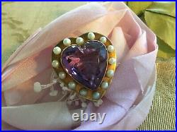 Antique Art Nouveau 14k Gold PinBrooch Heart Shaped with Amethyst & Pearls