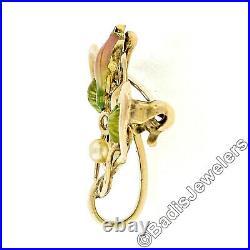 Antique Art Nouveau 14k Gold Seed Pearl Enamel Dual Swan Floral Open Brooch Pin