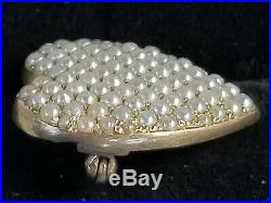 Antique Art Nouveau 14k Gold Seed Pearl Pave Heart Brooch Pin Sloan & Co 4.7g