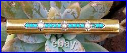Antique Art Nouveau 14k Gold Turquoise Pearl Brooch Bar Pin Estate Jewelry 4.8g