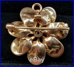 Antique Art Nouveau 14k Yellow Gold Pearl Enamel Flower Brooch Pin Pendant 6.3 g