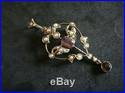 Antique Art Nouveau Amethyst & Seed Pearl 9ct Gold Lavaliere Pendant Brooch Pin